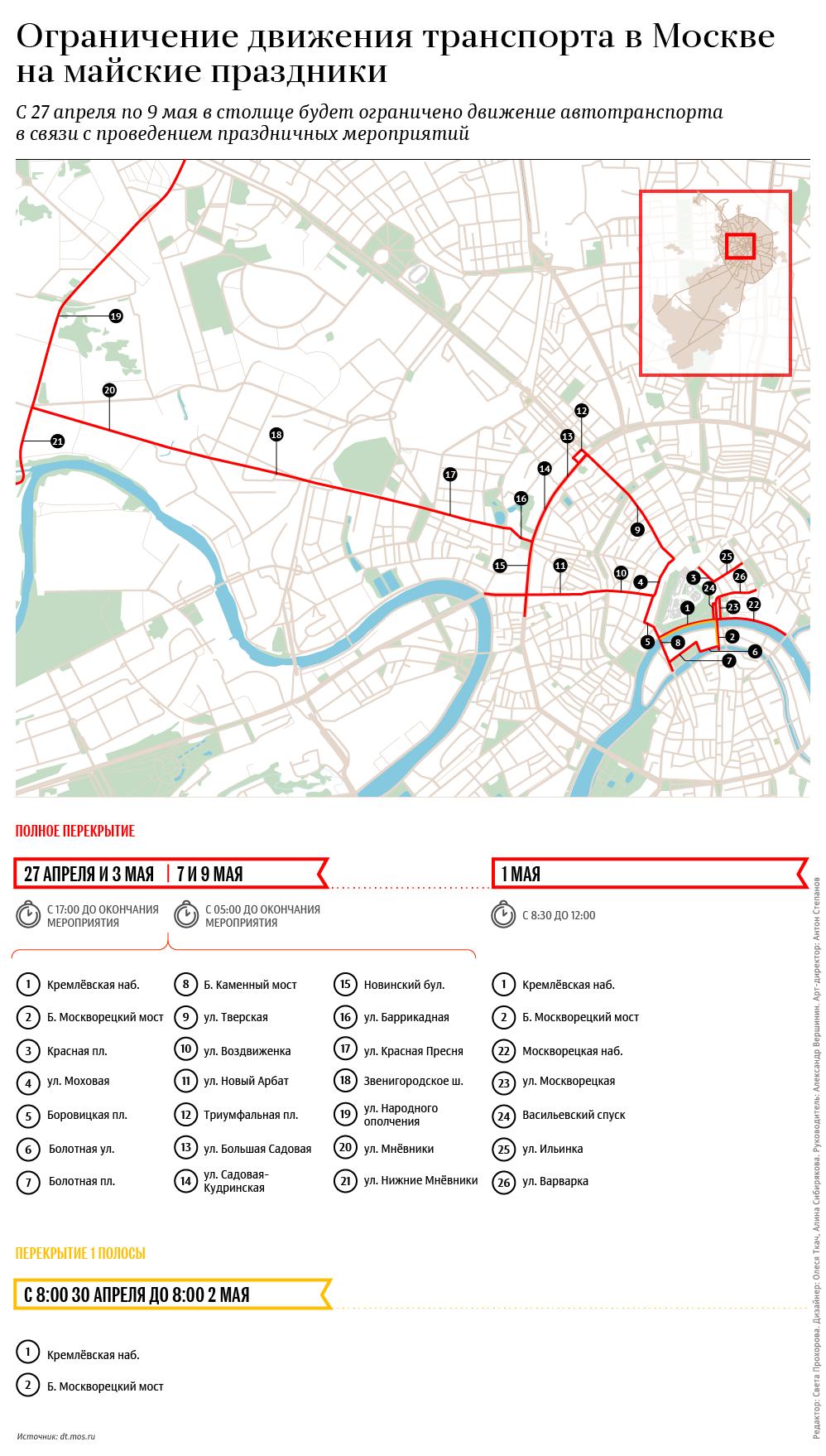 Ограничение движения транспорта в Москве на майские праздники